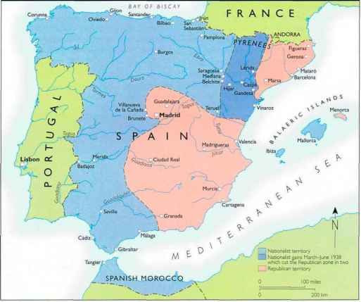 Map Of Spain Ebro River.The Division Of Spain Between Republicans And Nationalists Prior To